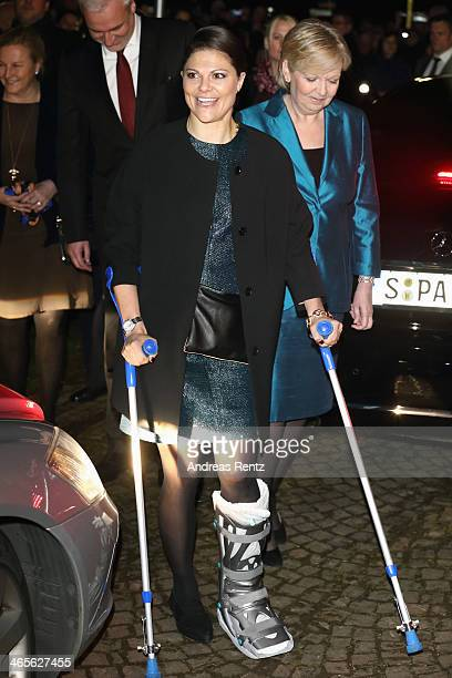 Crown Princess Victoria of Sweden arrives for a dinner with Hannelore Kraft Governor of North RhineWestphalia during her visit to North...