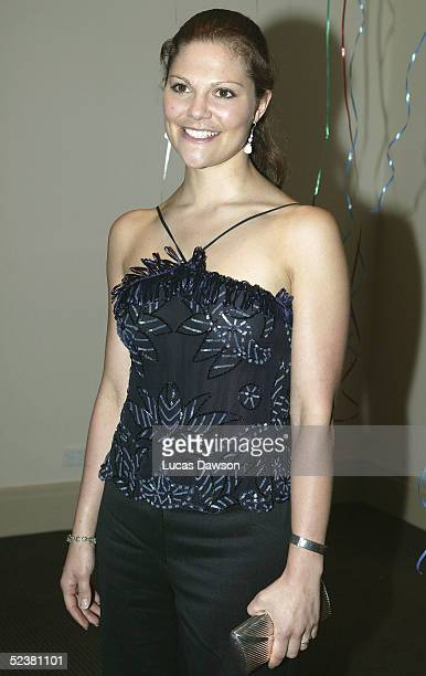 Crown Princess Victoria of Sweden arrives for a performance of Mama Mia March 13 2005 in Melbourne Australia