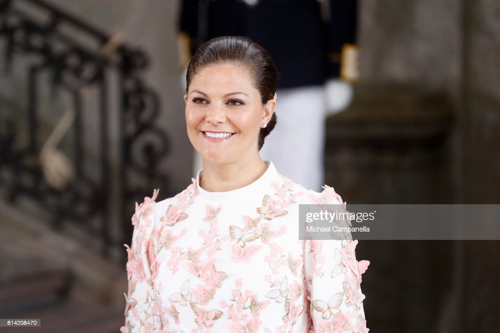 Crown Princess Victoria of Sweden arrives for a thanksgiving service on the occasion of The Crown Princess Victoria of Sweden's 40th birthday celebrations at the Royal Palace on July 14, 2017 in Stockholm, Sweden. The celebrations in Stockholm end with the Crown Princess Family being escorted from the Royal Palace to the Royal Stables in a horse drawn carriage.