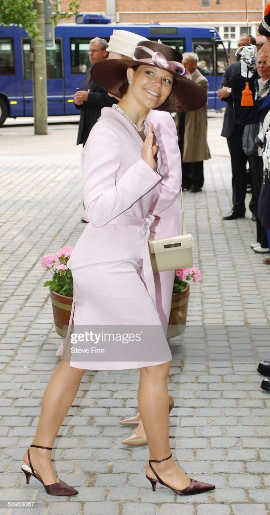Crown Princess Victoria of Sweden arrives for the Christening of baby girl Catharina-Amalia, daughter of Dutch Crown Prince Willem Alexander and Princess Maxima on June 12, 2004 in The Hague, The Netherlands. Her parents announced the birth of their daughter Princess Amalia - who is the heir to the Dutch throne - on December 7, 2003.