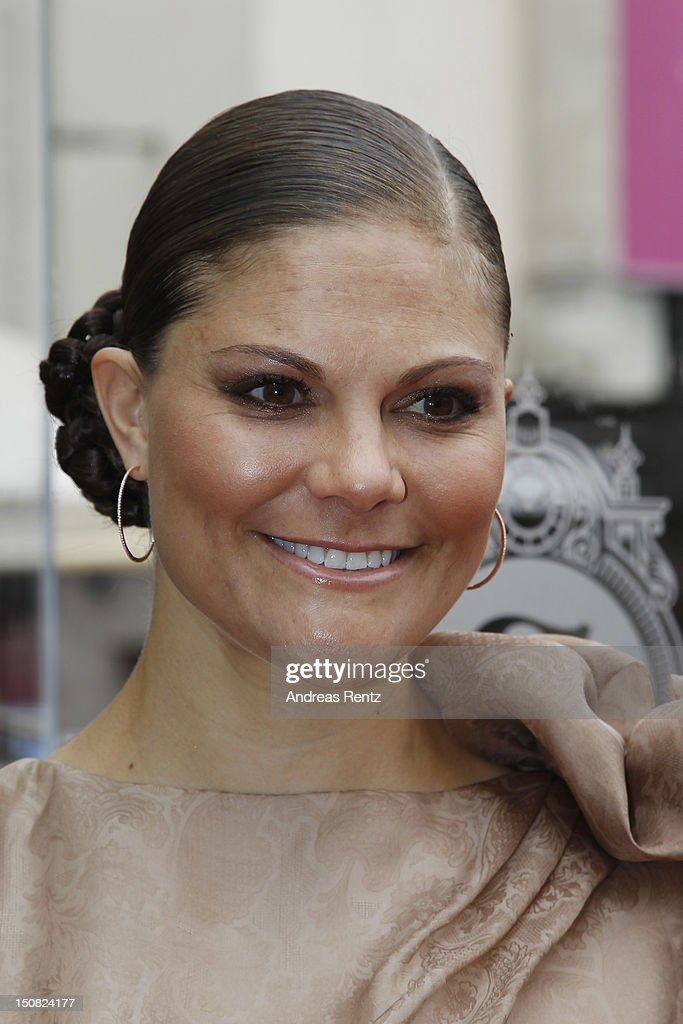 Crown Princess Victoria of Sweden arrives for the Fadi El Khoury S/S 2013 Fashion Show during the Mercedes-Benz Stockholm Fashion Week at Berns on August 27, 2012 in Stockholm, Sweden.