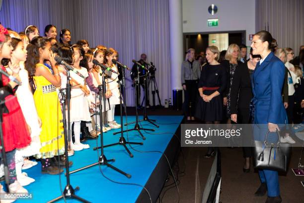 Crown Princess Victoria of Sweden arrives to the Life Below Water UN Conference where she is met by children on stage on October 11 2017 in Malmo...