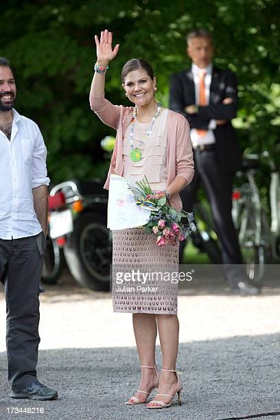 Crown Princess Victoria of Sweden attend the Victoria Day celebrations on her 36th Birthday at Solliden on July 14 2013 in Borgholm Sweden