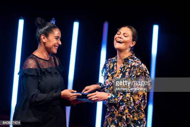 Crown Princess Victoria of Sweden attends a ceremony for the Stockholm Junior Water Prize at Grand Hotel on August 29 2017 in Stockholm Sweden