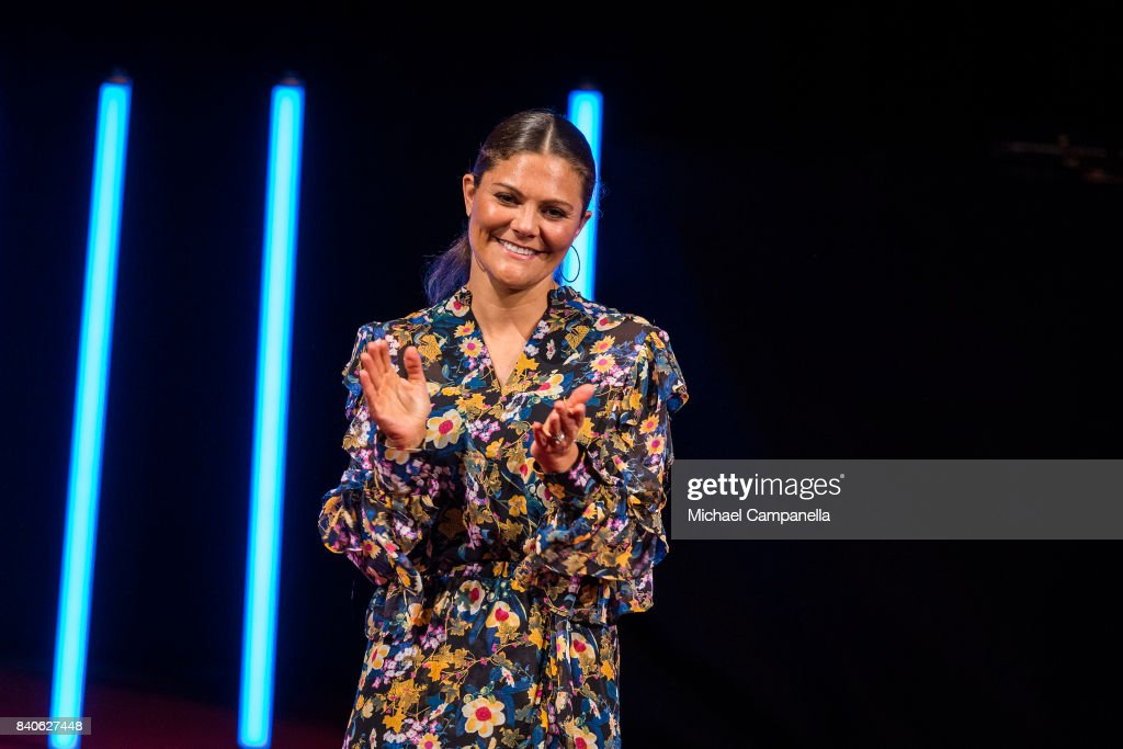 Crown Princess Victoria of Sweden attends a ceremony for the Stockholm Junior Water Prize at Grand Hotel on August 29, 2017 in Stockholm, Sweden.