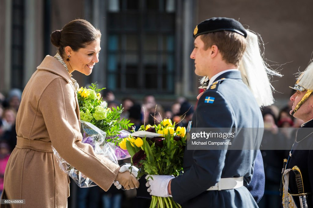 Crown Princess Victoria of Sweden attends a name day celebration for Princess Victoria at the Royal Palace on March 12, 2017 in Stockholm, Sweden.