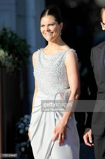 Crown Princess Victoria of Sweden attends a private dinner on the eve of the wedding of Princess Madeleine and Christopher O'Neill hosted by King...