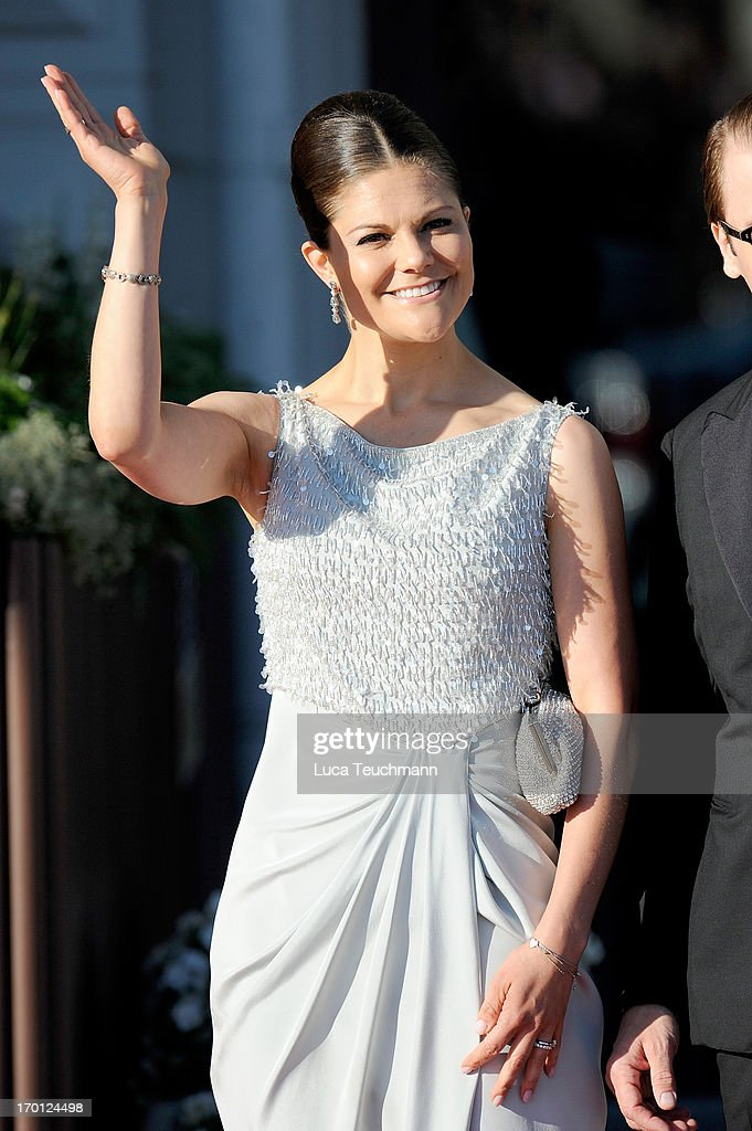 Crown Princess Victoria of Sweden attends a private dinner on the eve of the wedding of Princess Madeleine and Christopher O'Neill hosted by King Carl Gustaf and Queen Silvia at The Grand Hotel on June 7, 2013 in Stockholm, Sweden.