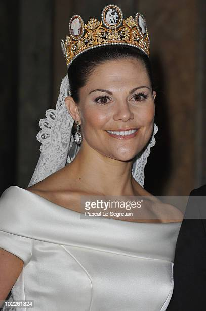 Crown Princess Victoria of Sweden attends her wedding banquet after she married Prince Daniel at the Royal Palace on June 19 2010 in Stockholm Sweden