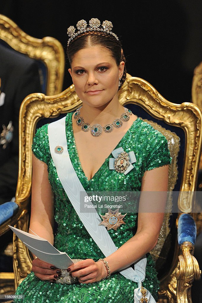 Crown Princess Victoria of Sweden attends the 2012 Nobel Prize Award Ceremony at Concert Hall on December 10, 2012 in Stockholm, Sweden.