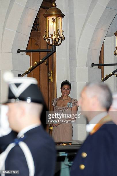 Crown Princess Victoria of Sweden attends the Gala dinner for the wedding of Prince Guillaume Of Luxembourg and Stephanie de Lannoy at the Grandducal...