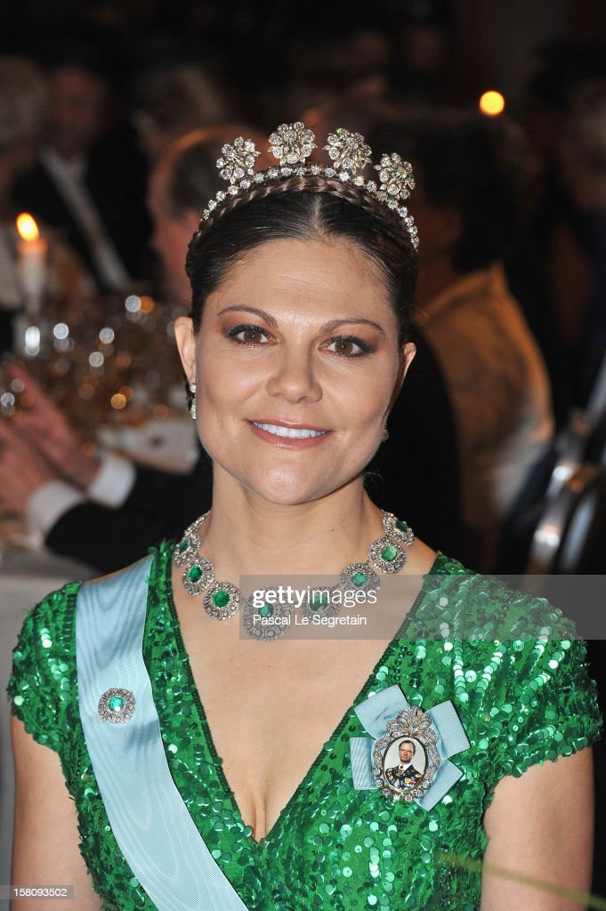 Crown Princess Victoria of Sweden attends the Nobel Banquet after the 2012 Nobel Peace Prize Ceremony at Town Hall on December 10 2012 in Stockholm...