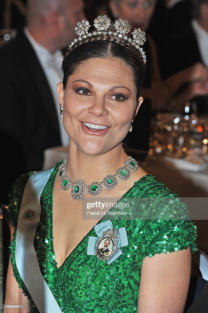 Crown Princess Victoria of Sweden attends the Nobel Banquet after the 2012 Nobel Peace Prize Ceremony at Town Hall on December 10, 2012 in Stockholm, Sweden.