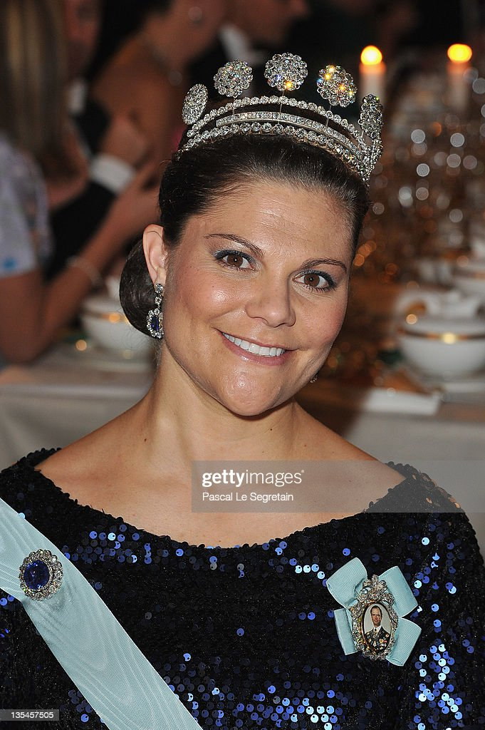 Crown Princess Victoria of Sweden attends the Nobel Banquet at the City Hall on December 10 2011 in Stockholm Sweden