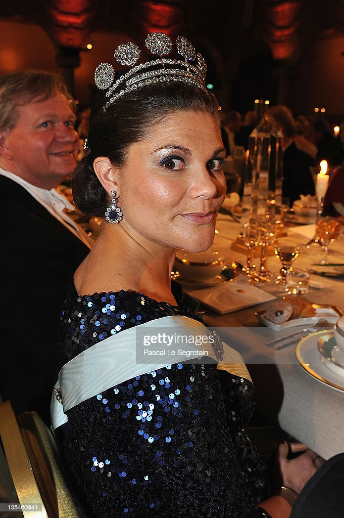 <a gi-track='captionPersonalityLinkClicked' href=/galleries/search?phrase=Crown+Princess+Victoria+of+Sweden&family=editorial&specificpeople=160266 ng-click='$event.stopPropagation()'>Crown Princess Victoria of Sweden</a> attends the Nobel Banquet at the City Hall on December 10, 2011 in Stockholm, Sweden.