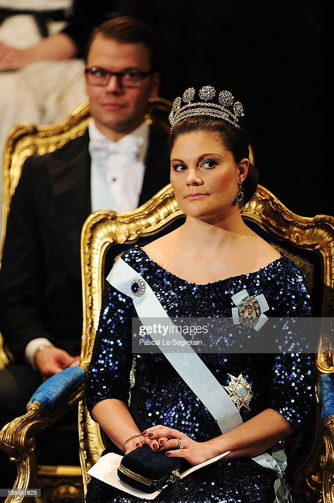 Crown Princess Victoria of Sweden attends the Nobel Foundation Prize Awards Ceremony 2011 at the Concert Hall on December 10, 2011 in Stockholm, Sweden.