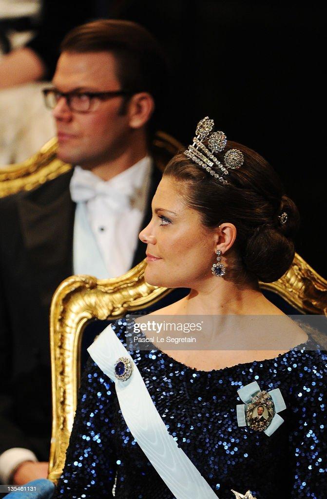 Crown Princess Victoria of Sweden attends the Nobel Prize Award Ceremony 2011 at Stockholm Concert Hall on December 10, 2011 in Stockholm, Sweden.