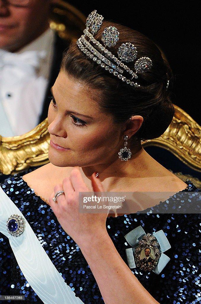 Crown Princess Victoria of Sweden attends the Nobel Prize Award Ceremony at Stockholm Concert Hall on December 10, 2011 in Stockholm, Sweden.