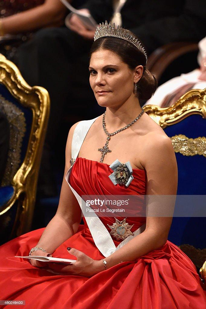 Crown Princess Victoria of Sweden attends the Nobel Prize Awards Ceremony at Concert Hall on December 10, 2014 in Stockholm, Sweden.