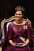 Crown Princess Victoria of Sweden attends the Nobel Prize Awards Ceremony at Concert Hall on December 10 2015 in Stockholm Sweden