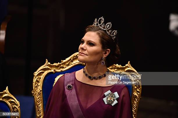Crown Princess Victoria of Sweden attends the Nobel Prize Awards Ceremony at Concert Hall on December 10 2015 in Stockholm Sweden