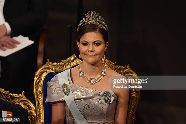 Crown Princess Victoria of Sweden attends the Nobel Prize Awards Ceremony at Concert Hall on December 10 2016 in Stockholm Sweden