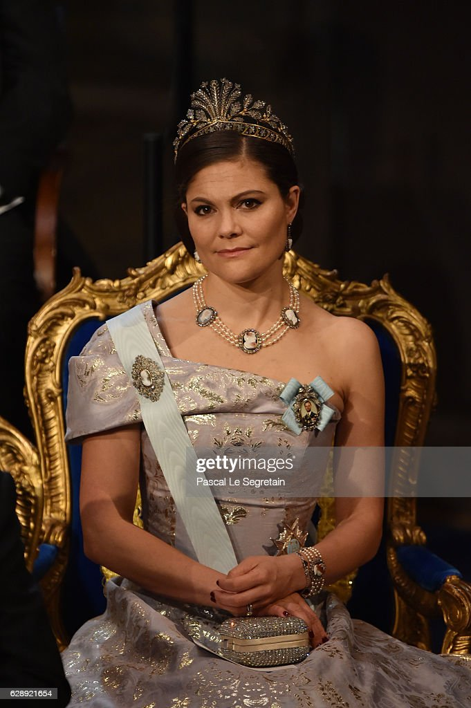 Crown Princess Victoria of Sweden attends the Nobel Prize Awards Ceremony at Concert Hall on December 10, 2016 in Stockholm, Sweden.