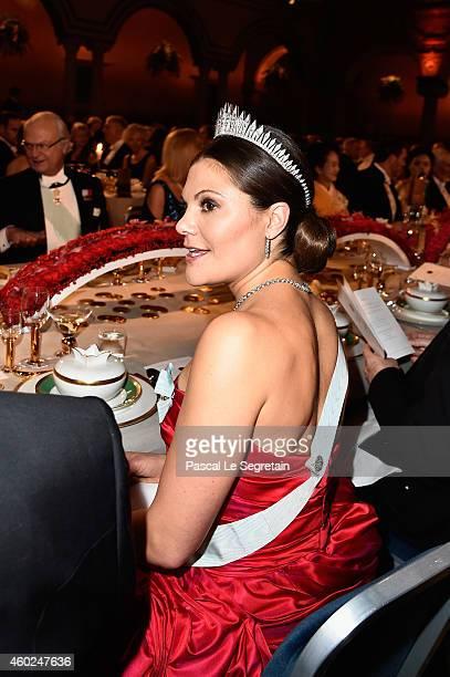 Crown Princess Victoria of Sweden attends the Nobel Prize Banquet 2014 at City Hall on December 10 2014 in Stockholm Sweden