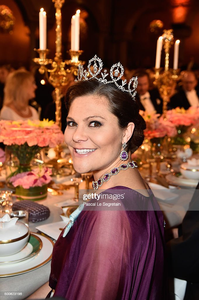 Crown Princess Victoria of Sweden attends the Nobel Prize Banquet 2015 at City Hall on December 10, 2015 in Stockholm, Sweden.