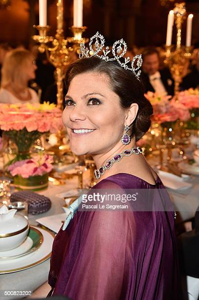 Crown Princess Victoria of Sweden attends the Nobel Prize Banquet 2015 at City Hall on December 10 2015 in Stockholm Sweden