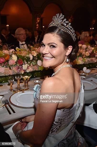 Crown Princess Victoria of Sweden attends the Nobel Prize Banquet 2015 at City Hall on December 10 2016 in Stockholm Sweden