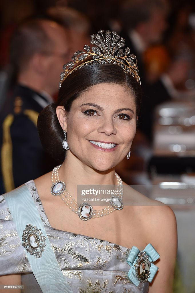Crown Princess Victoria of Sweden attends the Nobel Prize Banquet 2015 at City Hall on December 10, 2016 in Stockholm, Sweden.
