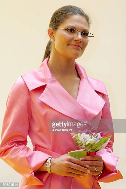 Crown Princess Victoria of Sweden attends the opening ceremony of 'HOME SWEDish HOME' at Swedish Embassy in Japan on April 8 2005 in Tokyo Japan