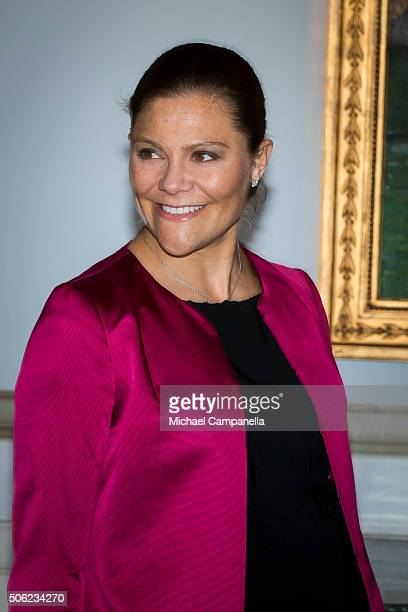 Crown Princess Victoria of Sweden attends the opening of the exhibition 'In Course of Time 400 Years Of Royal Clocks' at the Royal Palace on January...