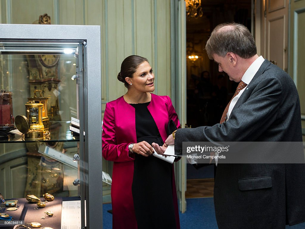 Crown Princess Victoria of Sweden attends the opening of the exhibition 'In Course of Time, 400 Years Of Royal Clocks' at the Royal Palace on January 22, 2016 in Stockholm, Sweden.