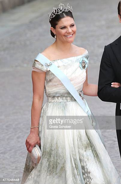 Crown Princess Victoria of Sweden attends the royal wedding of Prince Carl Philip of Sweden and Sofia Hellqvist at The Royal Palace on June 13 2015...