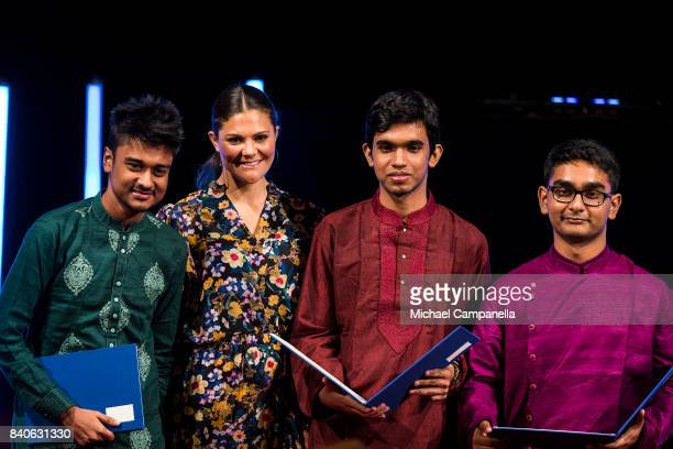 Crown Princess Victoria of Sweden awards the excellence prize to Aniruddah Chowdhury Arnab Chakraborty and Rituraj Das Gupta from Bangladesh during a...
