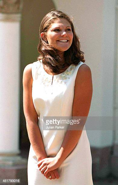 BORGHOLM SWEDEN JULY 14 Crown Princess Victoria of Sweden celebrates her 23rd birthday at Solliden near Borgholm on July 14 2000 in Borgholm Sweden