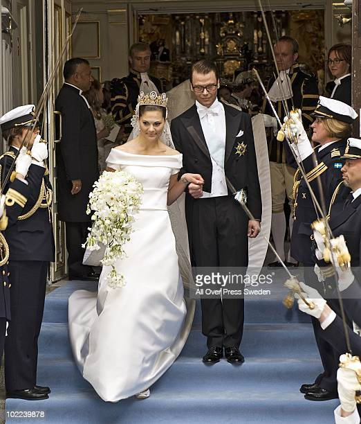 Crown Princess Victoria of Sweden Duchess of Vastergotland and her husband Prince Daniel of Sweden Duke of Vastergotland leave Storkyrkan Church...