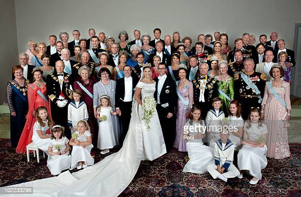 Crown Princess Victoria of Sweden Duchess of Vastergotland her husband Prince Daniel of Sweden Duke of Vastergotland pose after their wedding...