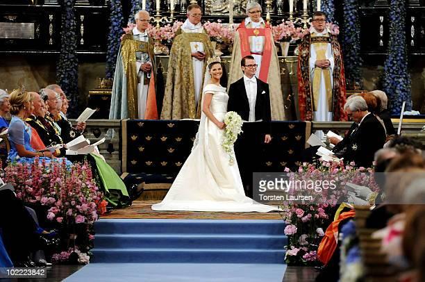 Crown Princess Victoria of Sweden Duchess of Västergötland and her husband Prince Daniel Duke of Västergötland are seen during their wedding ceremony...