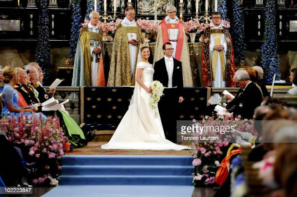 Crown Princess Victoria of Sweden Duchess of Västergötland and her husband Prince Daniel Duke of Västergötland are seen during their wedding ceremony...