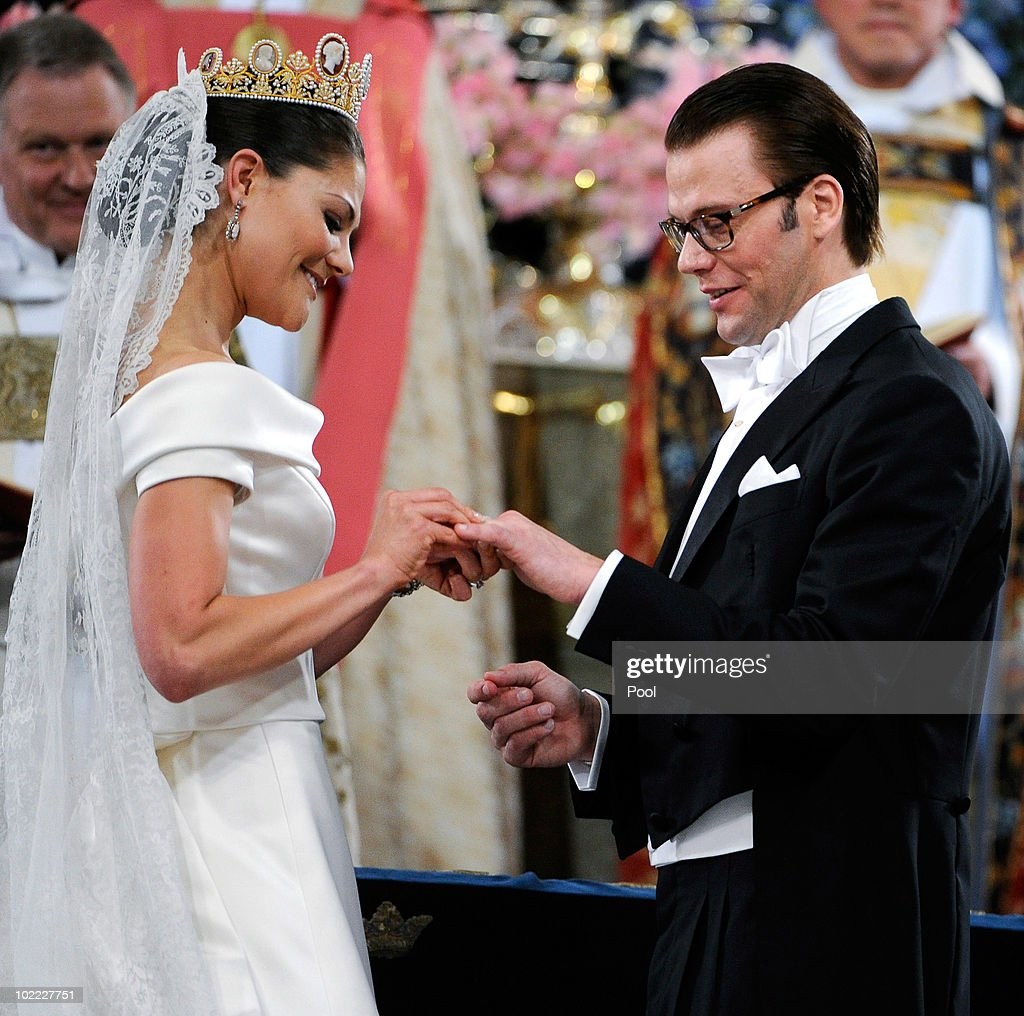 <a gi-track='captionPersonalityLinkClicked' href=/galleries/search?phrase=Crown+Princess+Victoria+of+Sweden&family=editorial&specificpeople=160266 ng-click='$event.stopPropagation()'>Crown Princess Victoria of Sweden</a>, Duchess of Västergötland, and her husband Prince Daniel of Sweden, Duke of Västergötland, are seen during their wedding ceremony on June 19, 2010 in Stockholm, Sweden.