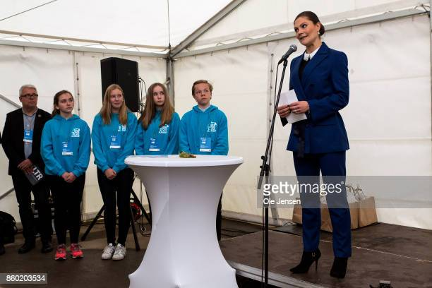 Crown Princess Victoria of Sweden gives a speech at the Marine Pedagogical Learning Center after she attended the Life Below Water international...