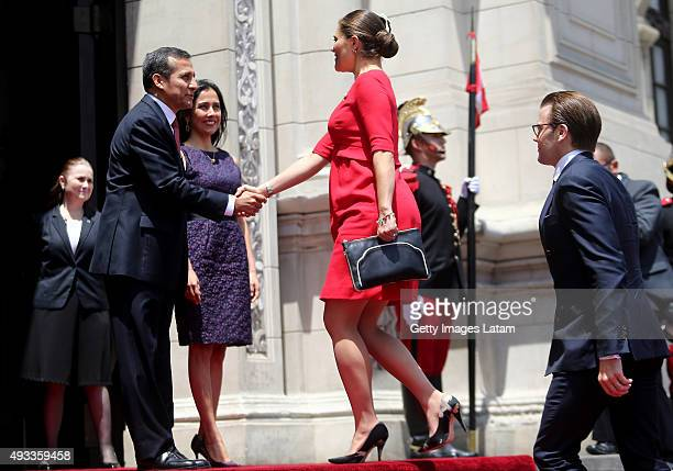 Crown Princess Victoria of Sweden is greeted by President of Peru Ollanta Humala during an official visit at the Presidential Palace on October 19...