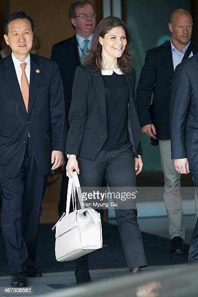 H Crown Princess Victoria of Sweden is seen upon arrival at Incheon International Airport on March 23 2015 in Incheon South Korea HRH the Crown...