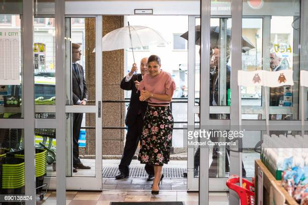 Crown Princess Victoria of Sweden is seen visting Paradiset an organic grocery store on May 30 2017 in Stockholm Sweden