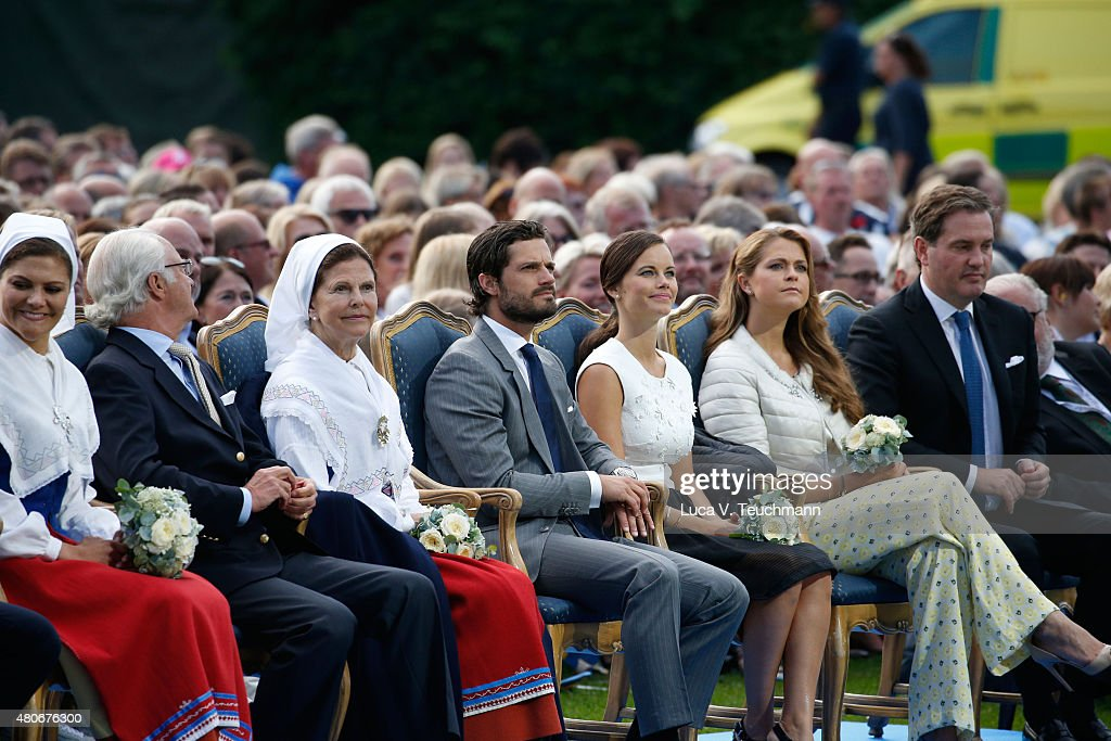 Crown Princess Victoria of Sweden; King Carl XVI Gustaf of Sweden; Queen Silvia of Sweden; Princess Sofia of Sweden; Prince Carl Philip of Sweden; Princess Madeleine of Sweden; Christopher O'Neill attend a concert to celebrate the 38th birthday of Crown Princess Victoria of Sweden at Borgholmon July 14, 2015 in Oland, Sweden.