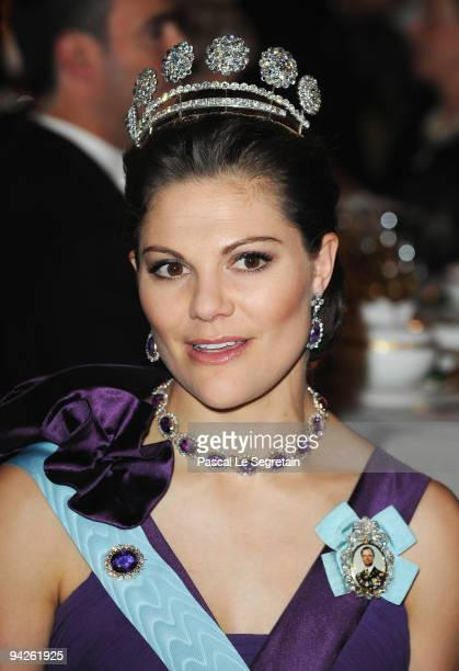 Crown Princess Victoria of Sweden poses during the Nobel Foundation Prize Banquet 2009 at the Town Hall on December 10 2009 in Stockholm Sweden