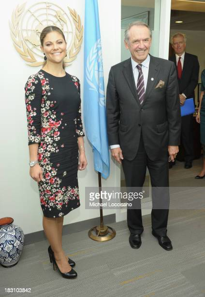 Crown Princess Victoria of Sweden poses with UN Deputy Secretary General Jan Eliasson during her visit to the United Nations at the United Nations on...